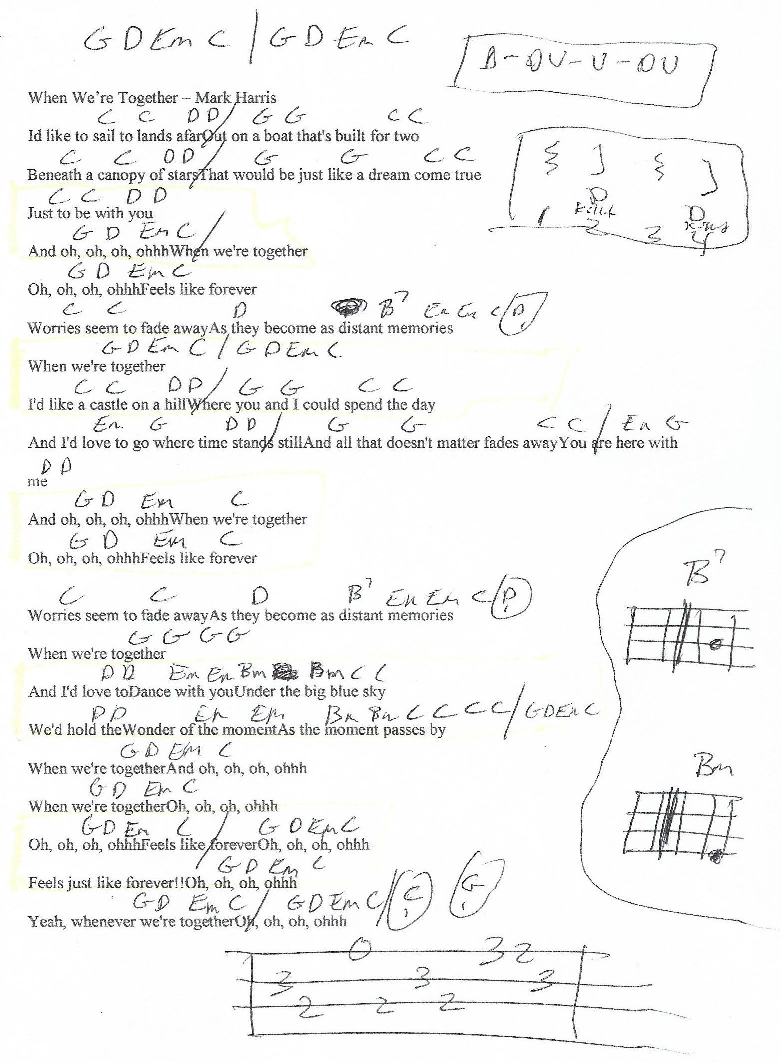 When We're Together (Mark Harris) Guitar Chord Chart in