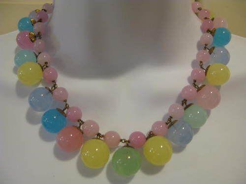 Vintage Pastel Quartz Balls Necklace