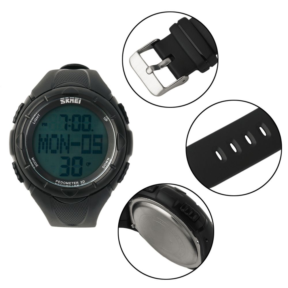 37c44bca376 New Arrival SKMEI Digital LED Display Pedometer Sport Running Watch Rubber  Strap 2017 Sports Watch Relogio Masculino feminino