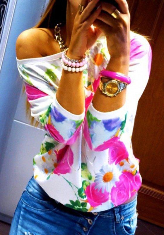 Rosa Blumenmonogramm drucken Dreiviertelansicht Sleeve Süßes T-Shirt