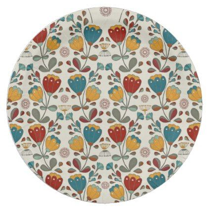 Vintage Ethno Flowers in red blue and yellow Paper Plate - red gifts color style cyo  sc 1 st  Pinterest & Vintage Ethno Flowers in red blue and yellow Paper Plate - red gifts ...