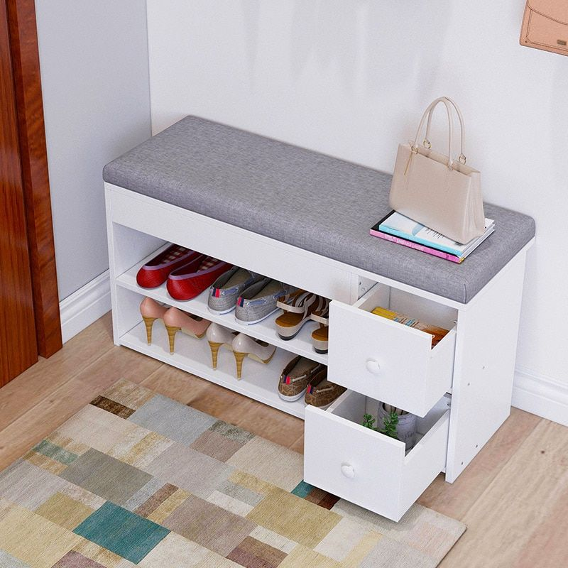 Nordic Creative Entrance Shoe Bench Storage Stool Multi Function Double Layer Shoe Rack Living Room Sofa Shoe Rack Living Room Storage Stool Bench With Storage