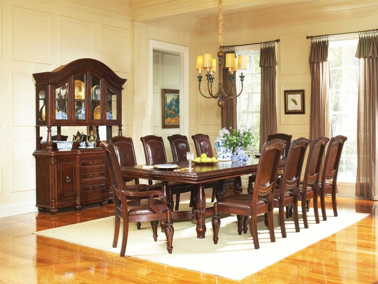Mahogany Leather Dining Set Antoinette Dining Room Set In Cherry