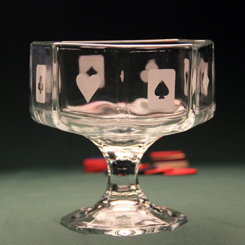 Poker Party Snack Bowl Etched W Armour Etch Cream And Re Usable