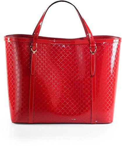 Gucci Handbag Red Nice Micro Guccissima Patent Leather Tote Bag