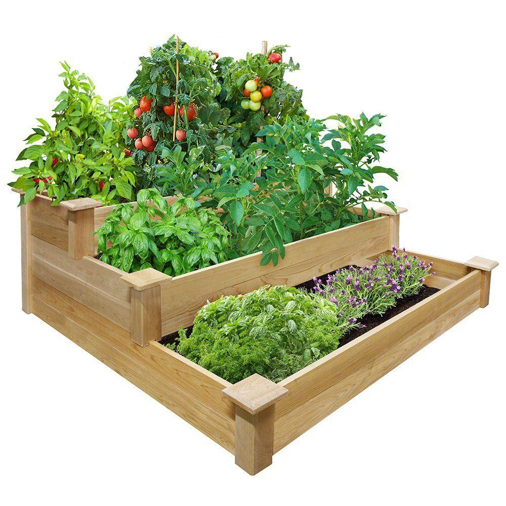 Amazon.com: Greenes 4 Ft. X 4 Ft. X 21 In. Tiered Cedar Raised Garden Bed: Patio, Lawn & Garden