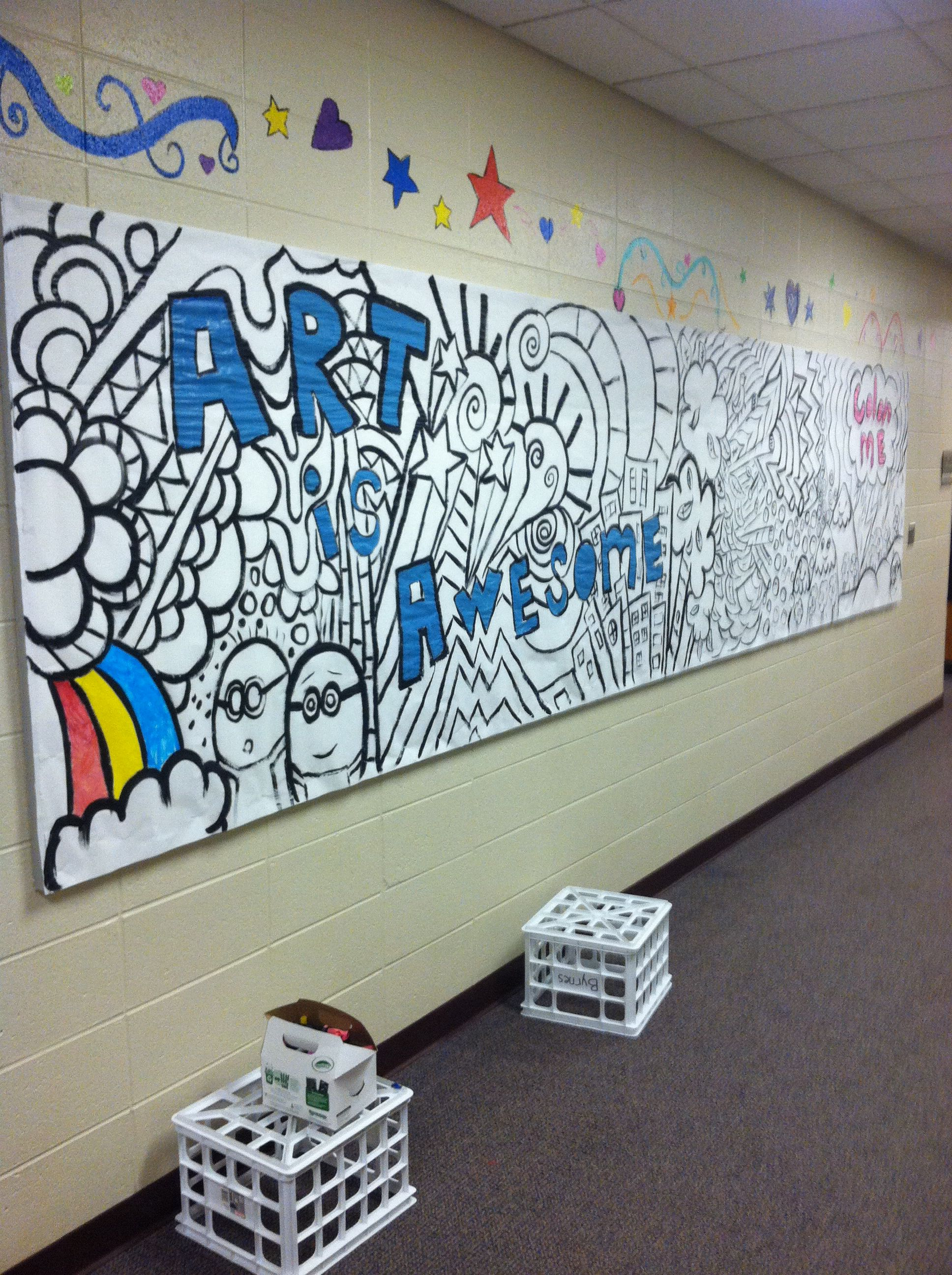 Art room back to school bulletin board familys color in during ice cream social or meet teacher night
