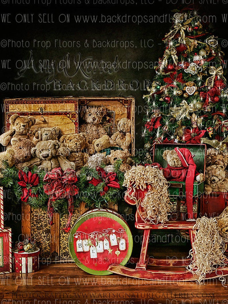 Teddy Bears In Vintage Trunks Photography Backdrop Christmas Etsy Winter Backdrops Christmas Photography Backdrops Christmas Backdrops