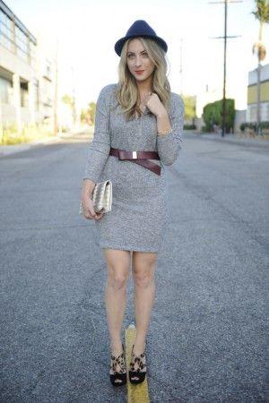 gray sweater dress + brown belt