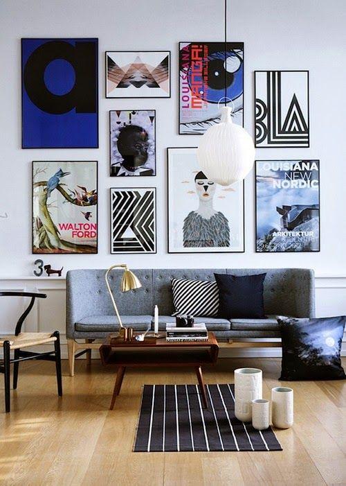 Salon Contemporain Accumulation De Cadres Mobilier Vintage Deco Mur Idee Deco Deco