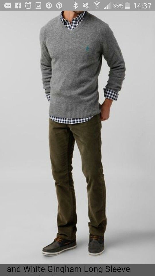 Love Is Dressy Casual Winter Fall Look For Men Throw A Simple Grey Sweater Over A Button Down Plaid Shirt With Da Mens Outfits Mens Fashion Casual Men Casual