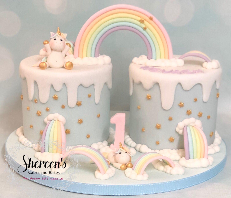 Pastel rainbow unicorn birthday cake 1st first
