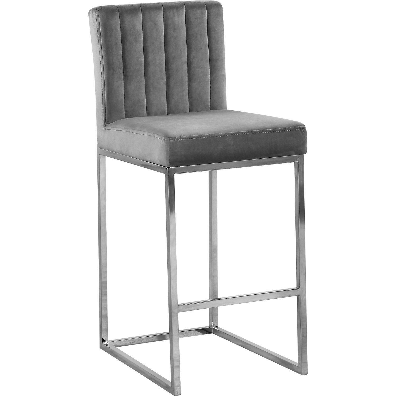Giselle Grey Velvet Stool Color Grey Velvet Finish Chrome Style Contemporary Walmart Com In 2021 Bar Stools Counter Stools Meridian Furniture