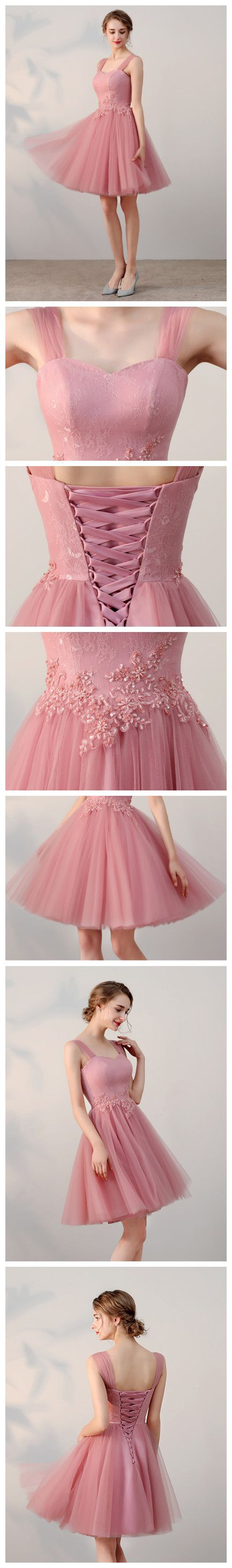 Chic aline tulle straps short prom dress pink simple lace applique