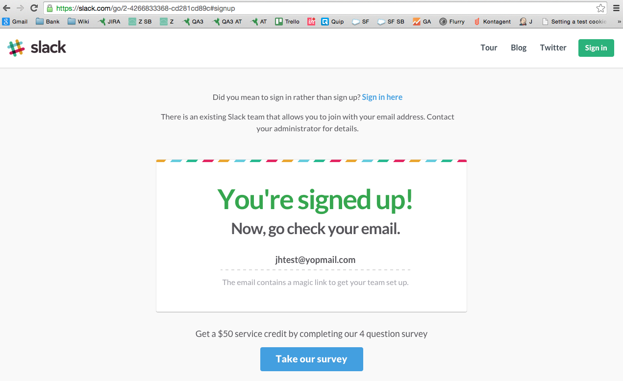 slack signup step 2 very quick and simple signup process