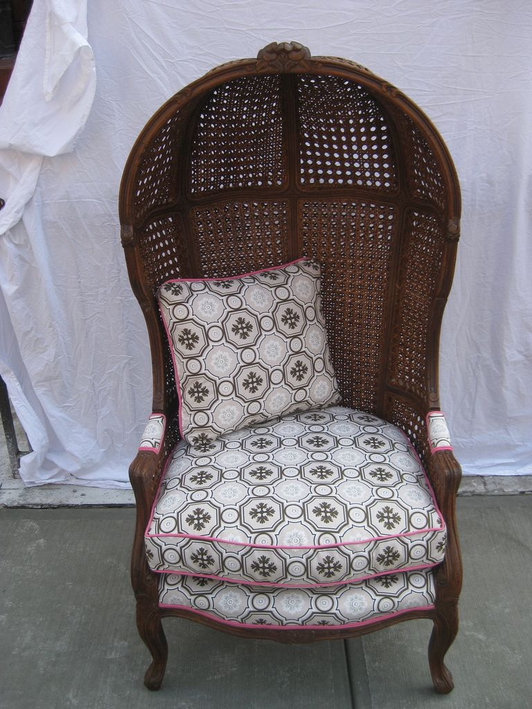 Vintage Rattan Hood Or Canopy Chair With Tony Duquette Upholstery