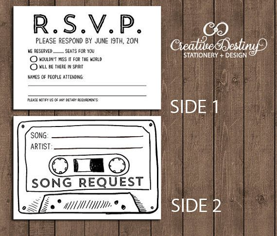 50 printed cassette tape song request rsvp cards customized with