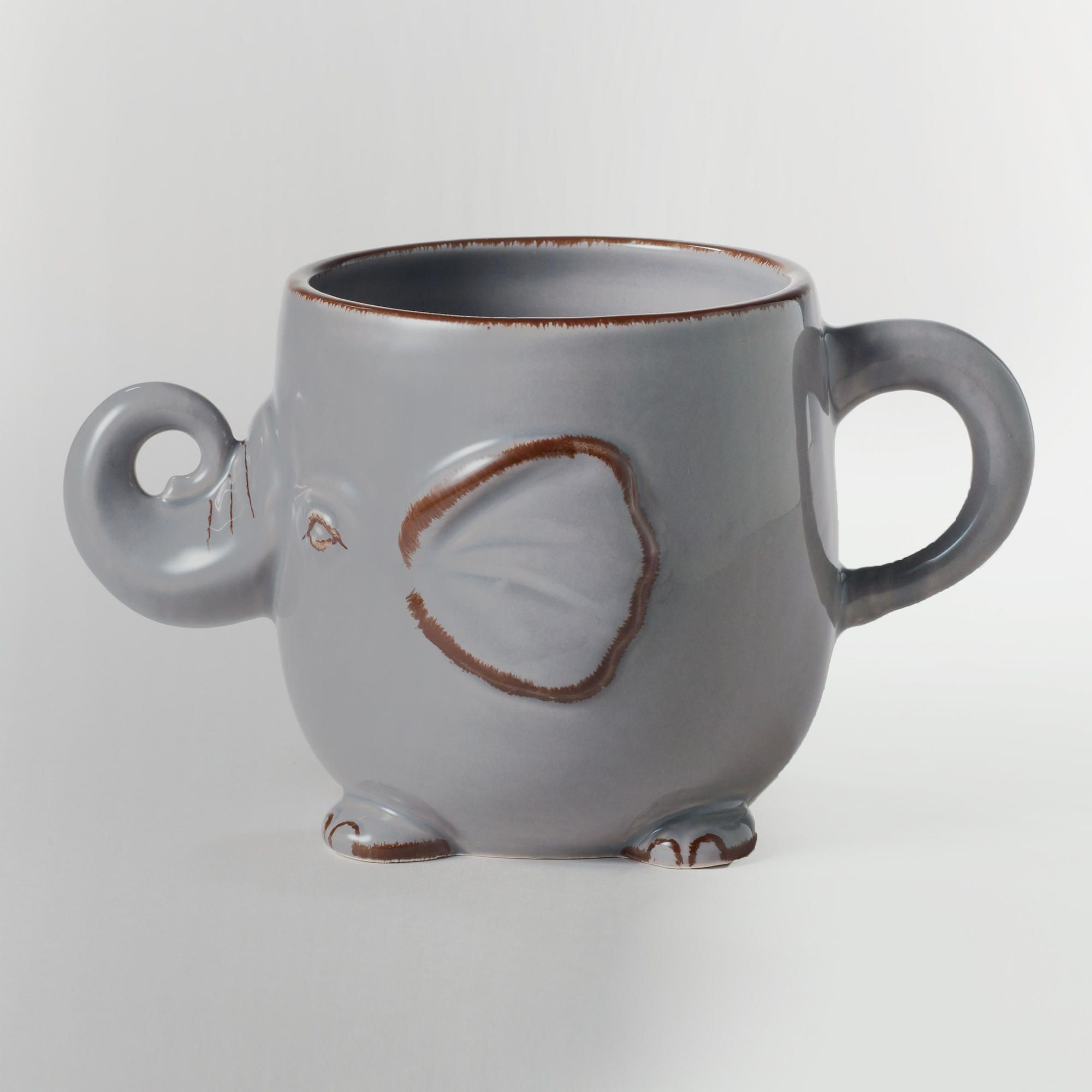 Gray elephant mug ceramic by world market grey for Pottery cup ideas