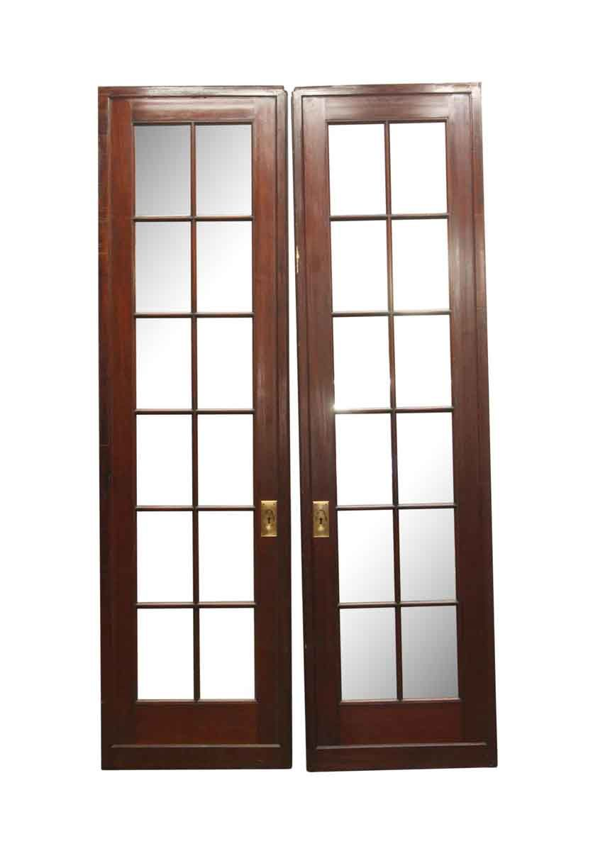 12 Lite Mirrored Mahogany Double French Doors 108 X 30 French Doors Antique French Doors Double French Doors