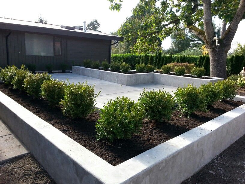 concrete patio and planters concrete