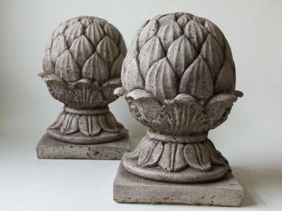 Two cement artichoke finials