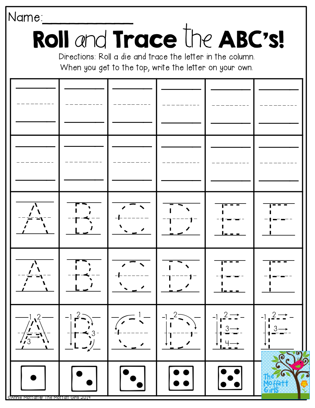 Roll and Trace the ABCs Roll a die and trace a letter The last – Trace Abc Worksheet