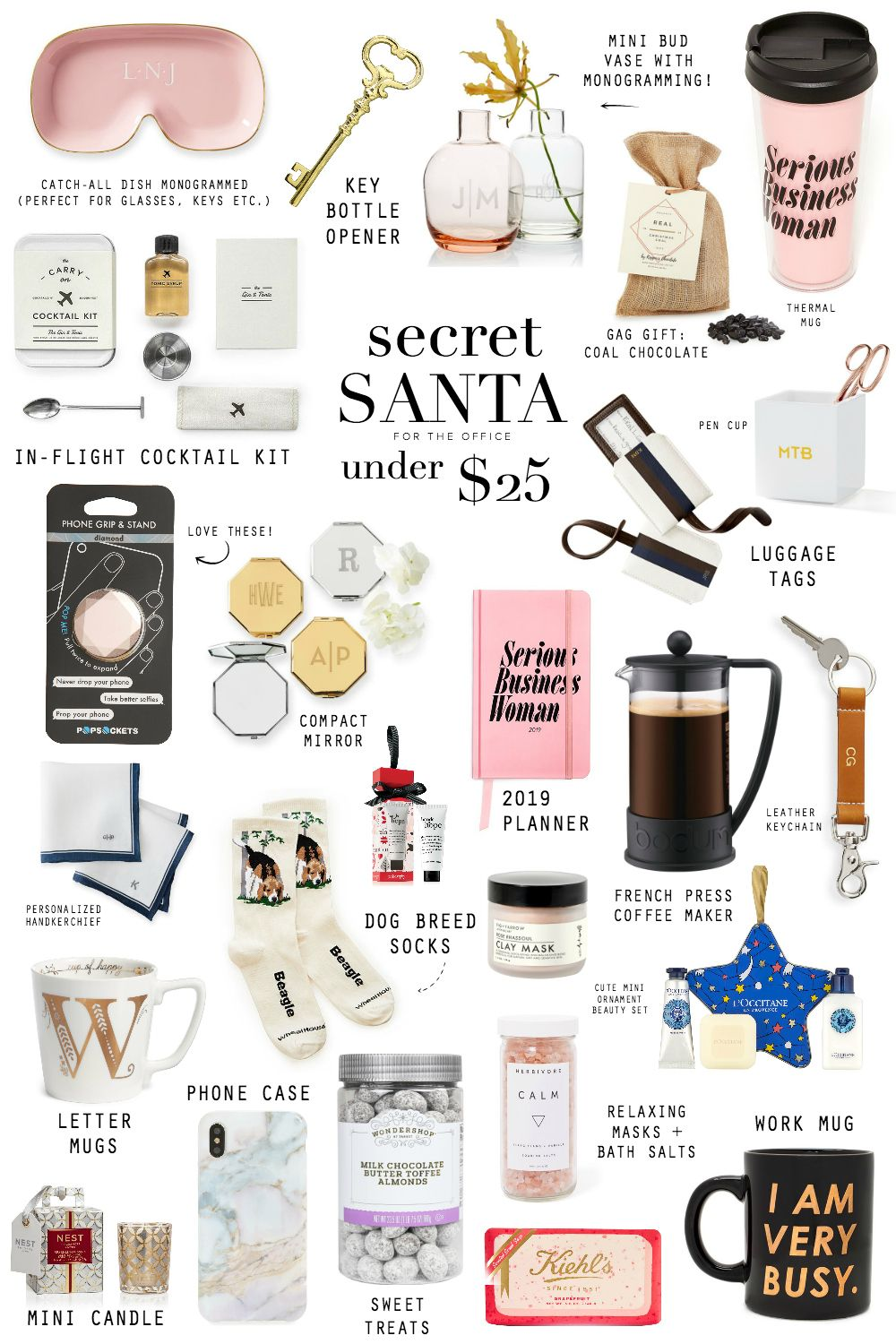 Idée Cadeau Secret Santa GIFT GUIDE: SECRET SANTA UNDER $25   STEPH JOLLY in 2020 | Diy