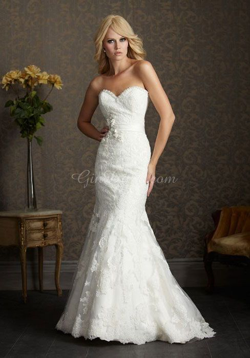 Sleeveless White Trumpet Applique Chapel Train Lace Wedding Dress picture 1; gindress.com