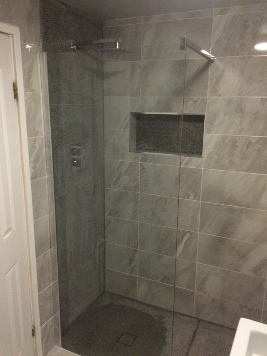 Walk in shower, glass screen, non slip feature tiles shower area ...