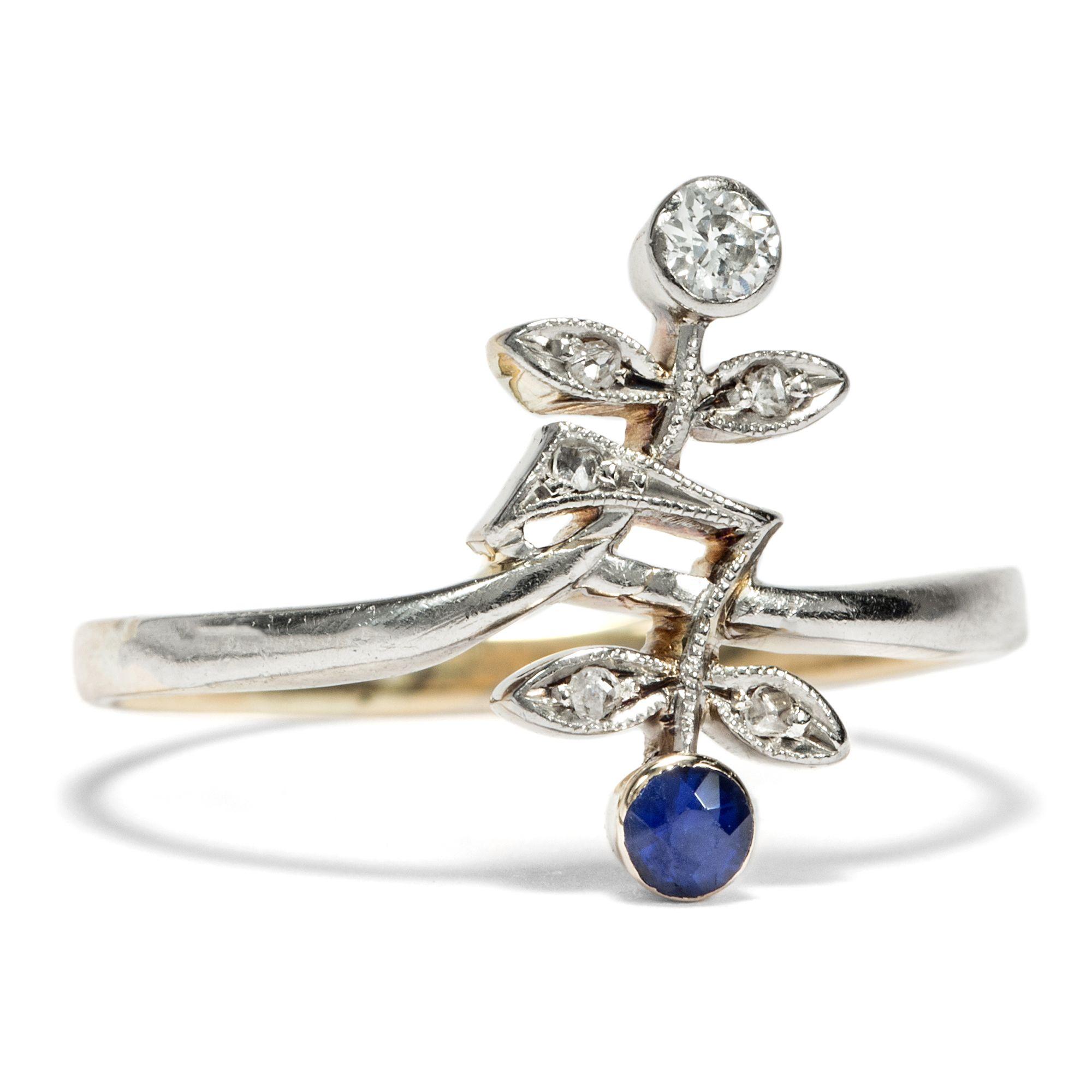 Sympathische Blumen Zarter Jugendstil Diamant & Saphir Ring in
