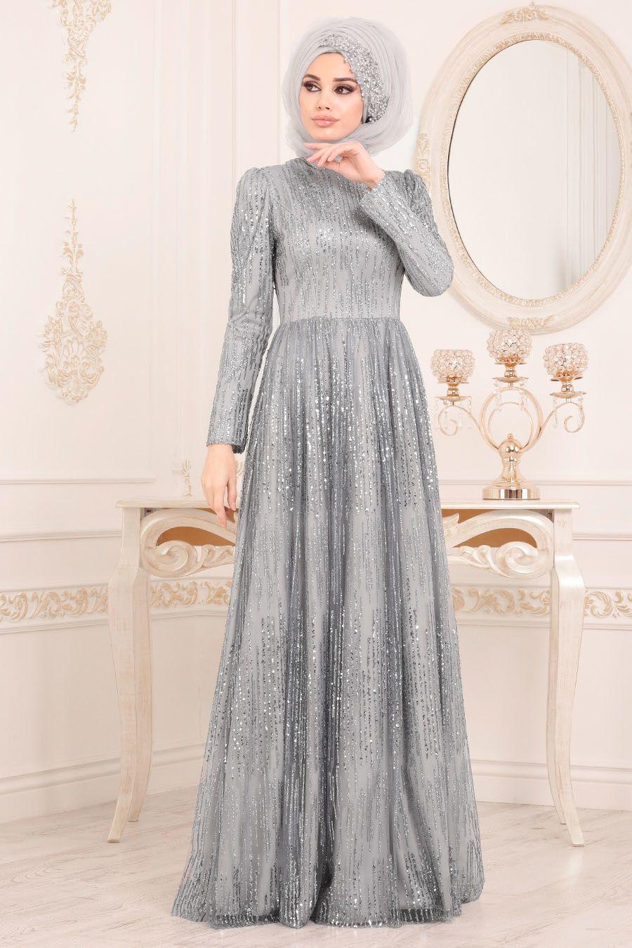 Tesetturlu Abiye Elbise Simli Payetli Gri Tesettur Abiye Elbise 2083gr The Dress Elbise Aksamustu Giysileri