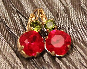 14K Gold ice drop earring, Green & Red Swarovski® crystals, Classic earrings,14K Gold plated, Real Swarovski Rhinestones, Valentines day.