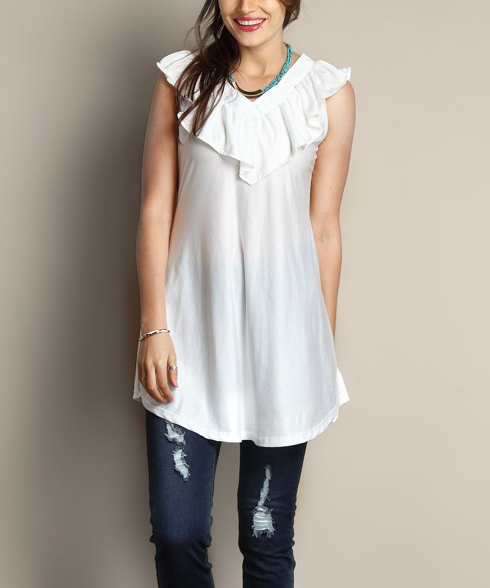 White Ruffle V-Neck Sleeveless Tunic - Plus by Reborn Collection #zulily #zulilyfinds