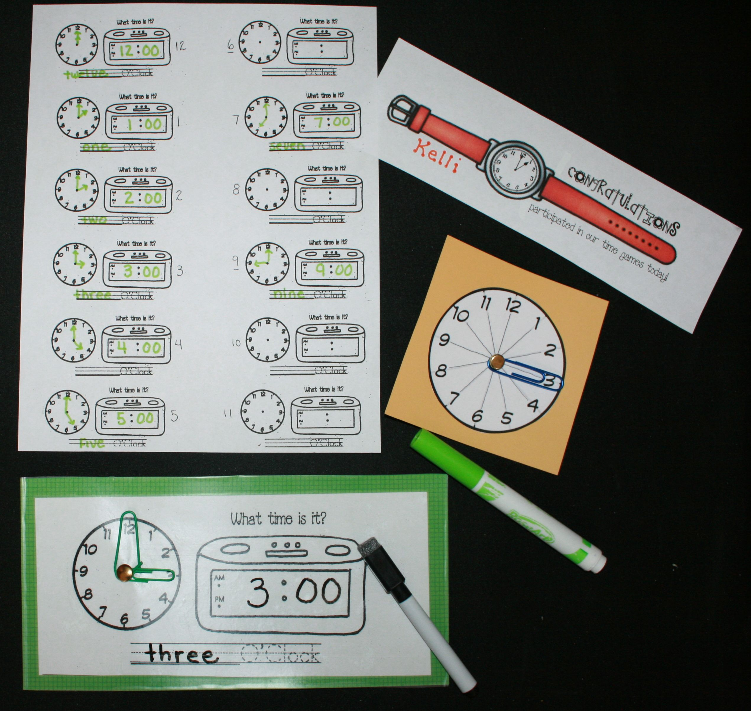 Students Spin And Record Their Time On The Dry Erase Clock