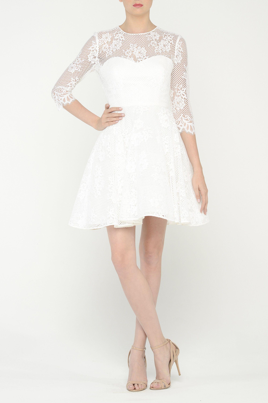 White cocktail dress for wedding  Monique Lhuillier