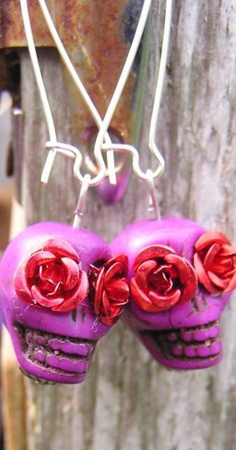 Sugar Skull Day of the Dead Jewelry LONG Skull earrings Skull jewelry Statement #donnaelizabethdesign