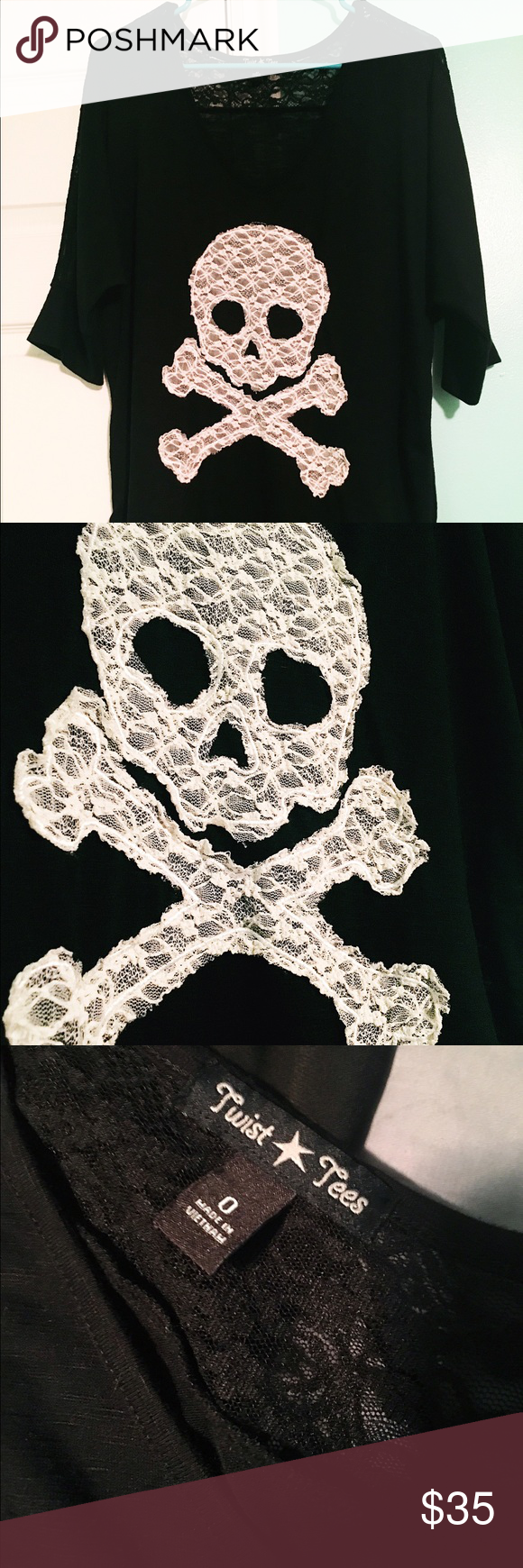"""Twist Tees Lace Skull Knit Shirt Brand new (without tags) and never worn but so so cute. Ordered online and it was too small so it fell victim to the """"I'll save this for when I lose weight mentality"""" but now my closet needs a de-stash and I'm selling this cute cute shirt. Lace on upper back, half sleeve, purchased at Torrid. Torrid size 0-like a Large or a 12ish-but this fits a little bigger so a 14 could probably wear it comfortably or a 16 snugly. Original retail $42.50 Twist Tees Tops…"""