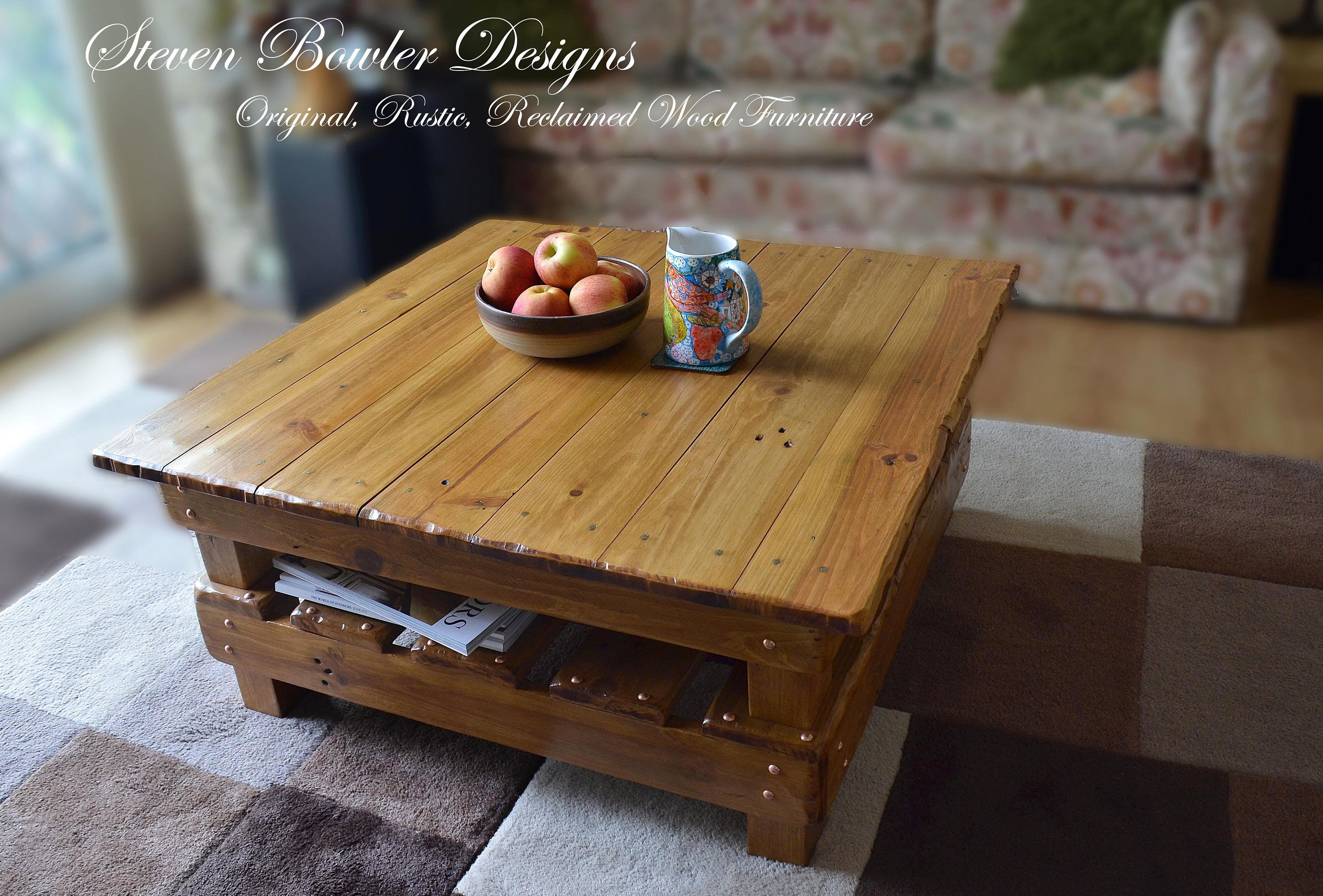Light Oak Country Cottage Reclaimed Wood Coffee Table With