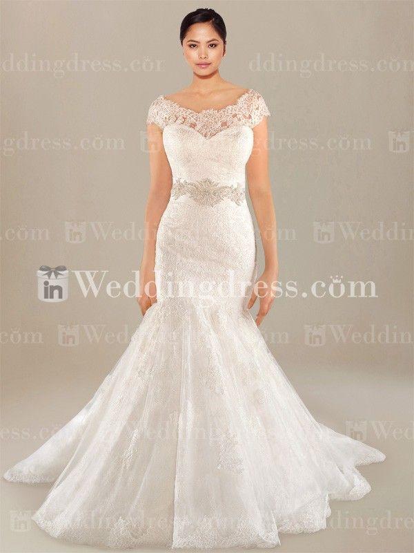 Drop Waist Plus Size Wedding Dress PS182 | Wedding dress, Bateau ...