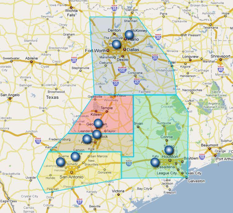 map of san antonio and surrounding areas San Antonio Houston