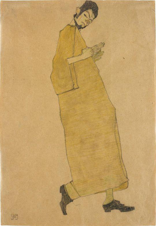 Manliche Figur nach rechts (Selbstporträt) [Male Figure Facing Right (Self Portrait)], 1909. Watercolour, coloured crayon and pencil on paper, 45 x 31.1 cm.