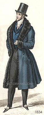 Wonderful 1830's outfit with a blue colour scheme and fur-lined frock coat.