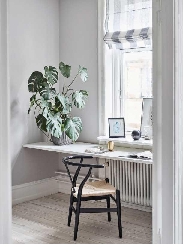 ... Modern Minimalistisch Schlicht Reduziert Monochrom Weiß Zimmerpflanze  Monstera Wishbone Chair Wegner Designklassiker Schwarz Schreibtisch Holz  Deko ...