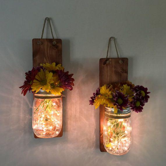 Lighted Mason Jar Hanging Wall Sconce Hanging Wall Planter