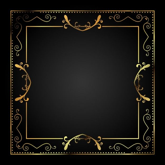 Stylish Metallic Gold Frame Free Vector Design