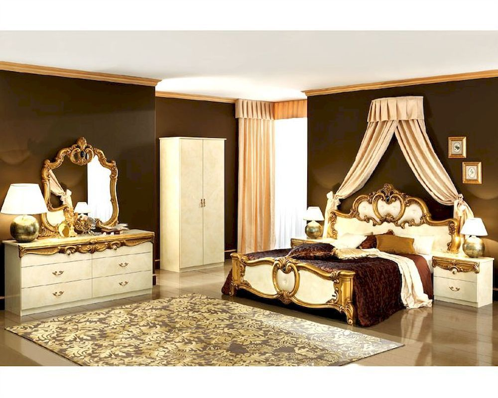 Bedroom Set Gold Baroque Classic Style Made Italy Home Furniture  # Muebles Lakeland Fl