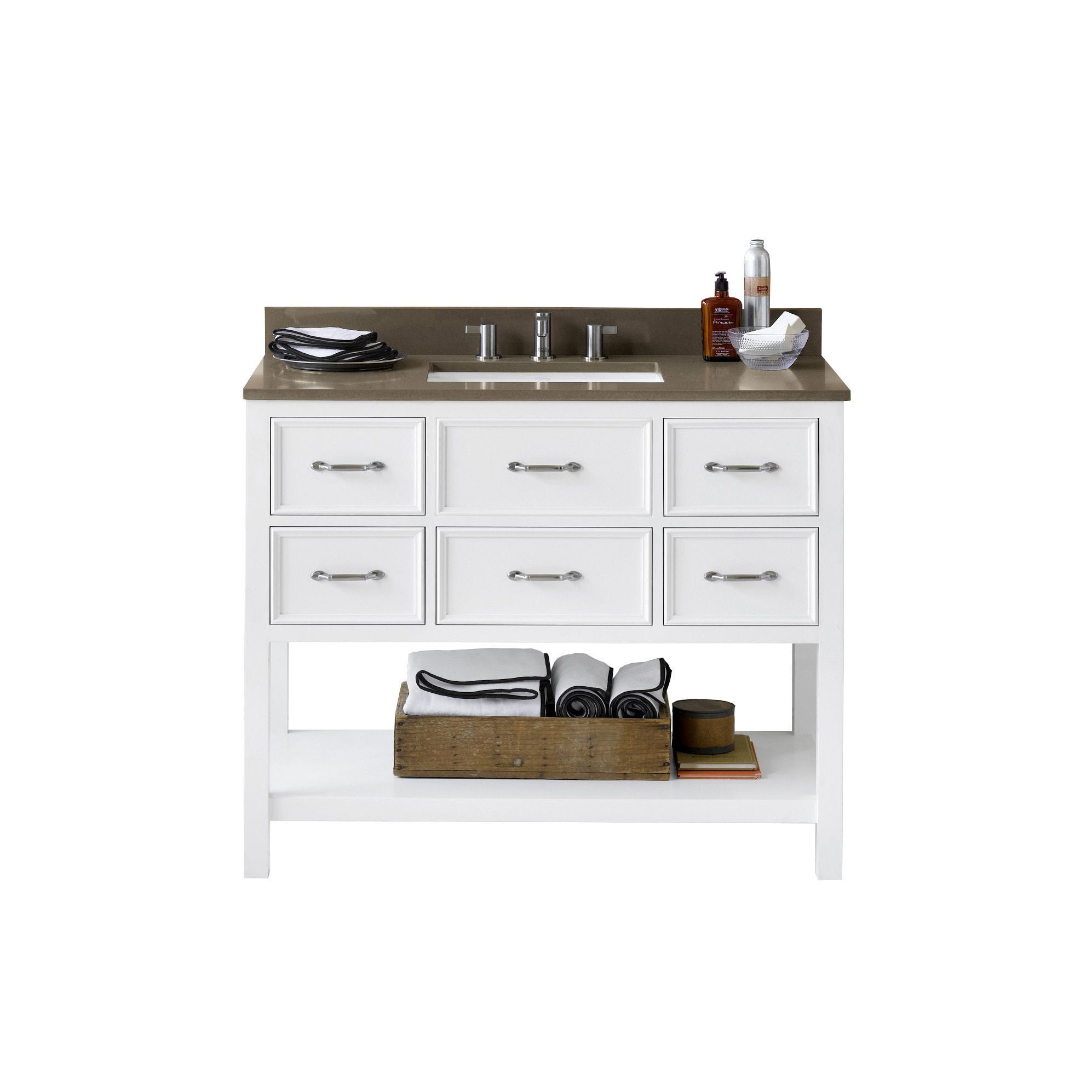 Ronbow newcastle white woodceramic inch bathroom vanity set with