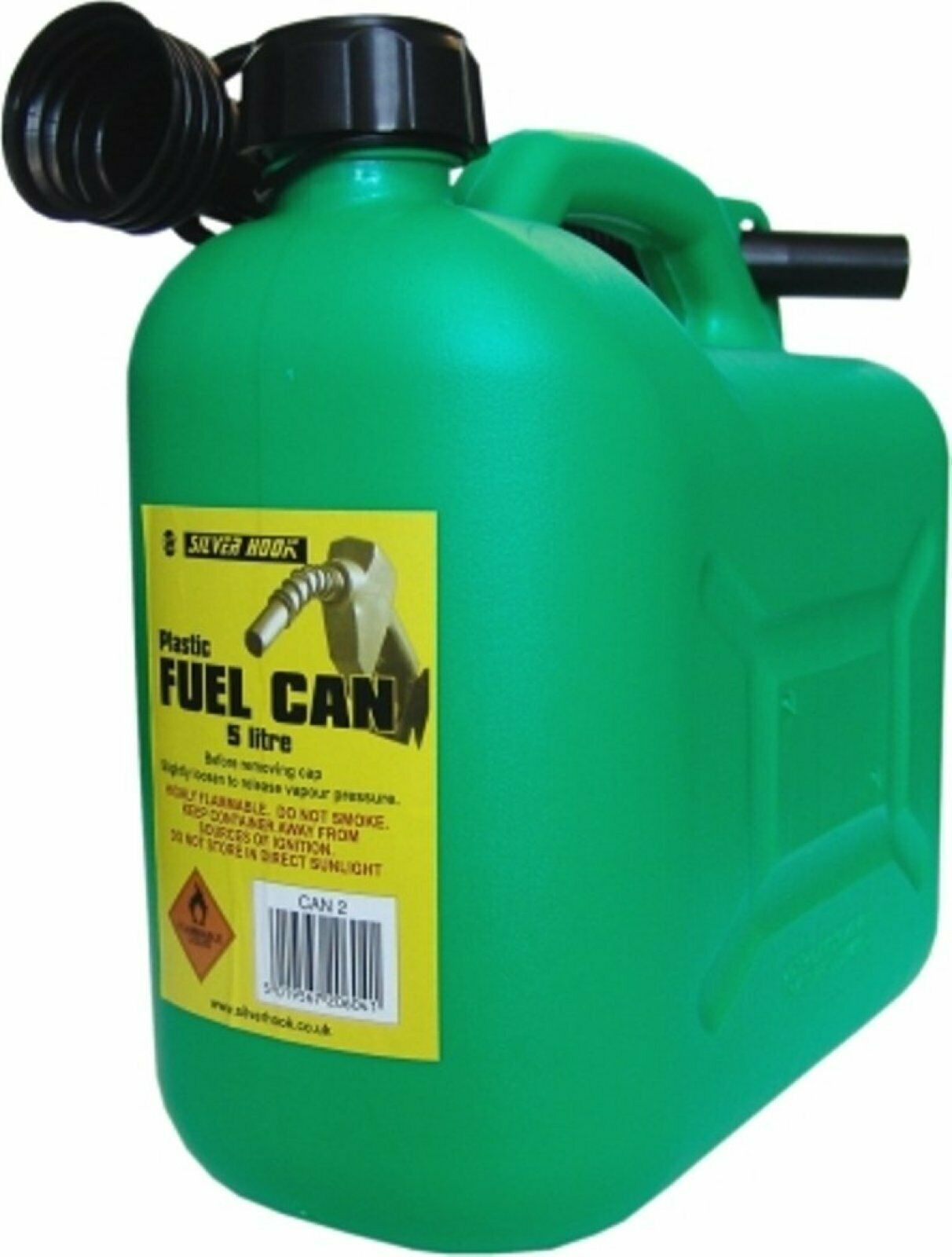 S Style Unleaded Petrol Can and Spout Green Carfuel Can 5
