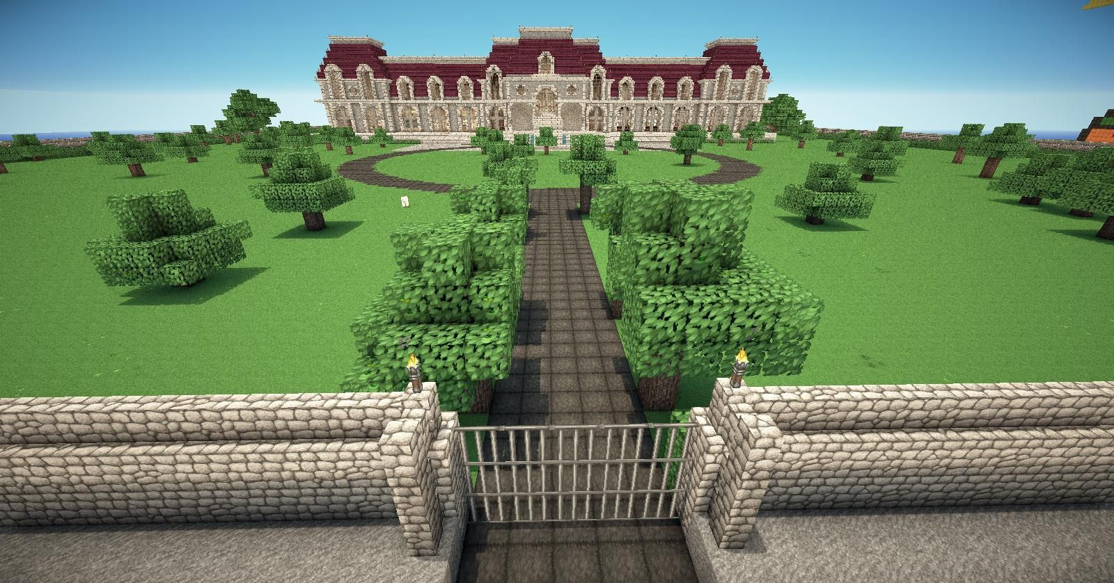 Might have a wall around my grounds and a piston activated gate for Minecraft exterior wall design