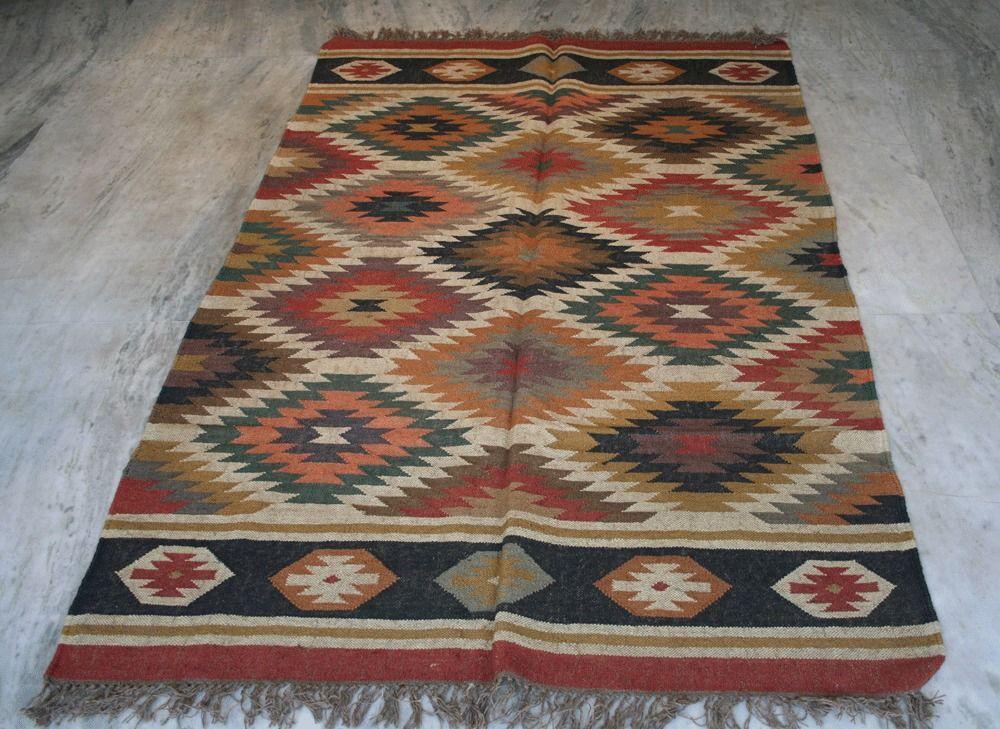 Captivating European Vintage Antique Handmade Kilim Rug, Turkish Rug, Wool Jute Area  Rugs, #